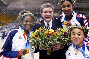 Sheryl Swoopes, left, coach Van Chancellor, Lisa Leslie and Dawn Staley won gold in 2004 in Athens. It was Swoopes' third Olympic title.
