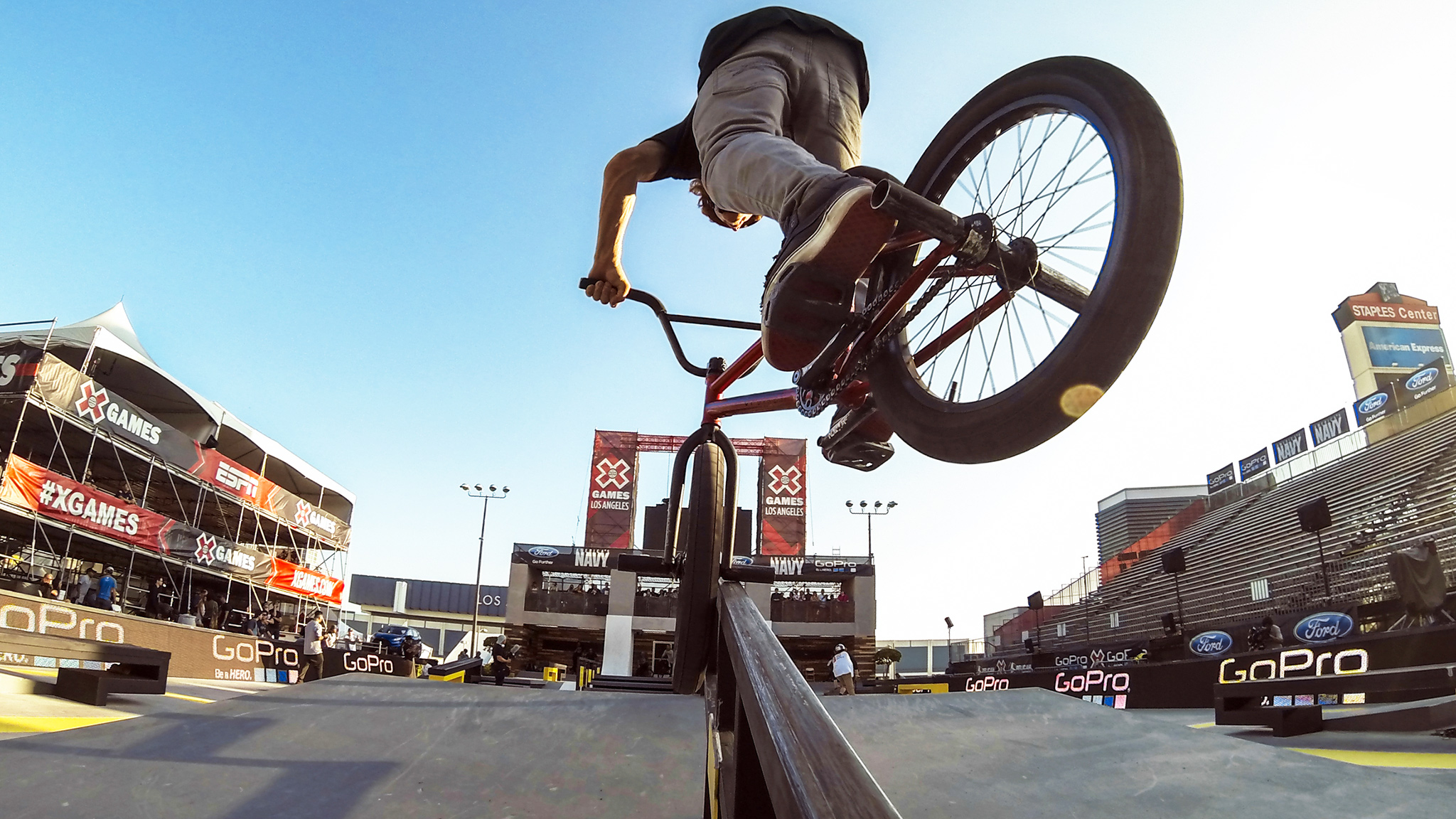 The world of BMX Street as seen through the lens of one of the GoPro cameras trained on eventual bronze-medal winner Jeremiah Smith.