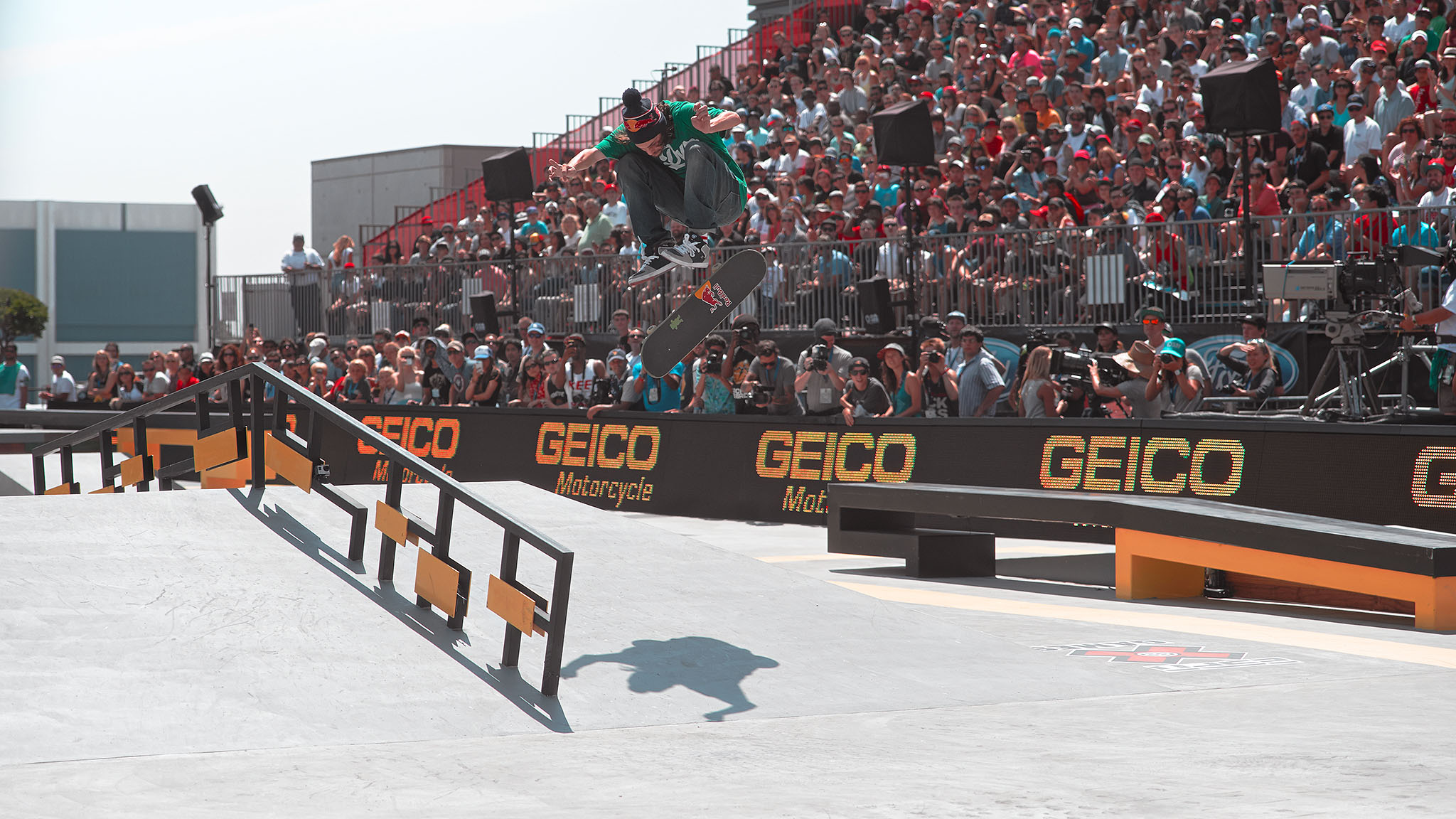 This photo of Torey Pudwill was taken after it was clear he would not make the Street League at X Games final. There was a trick he was determined to make, however, and the crowd was on its feet when he finally nailed it and rolled away.