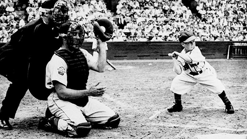 Eddie Gaedel walked on four straight pitches in his lone at-bat in Major League Baseball.