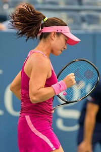 Zheng Jie reacts after winning a point against Venus Williams on Wednesday at the US Open.