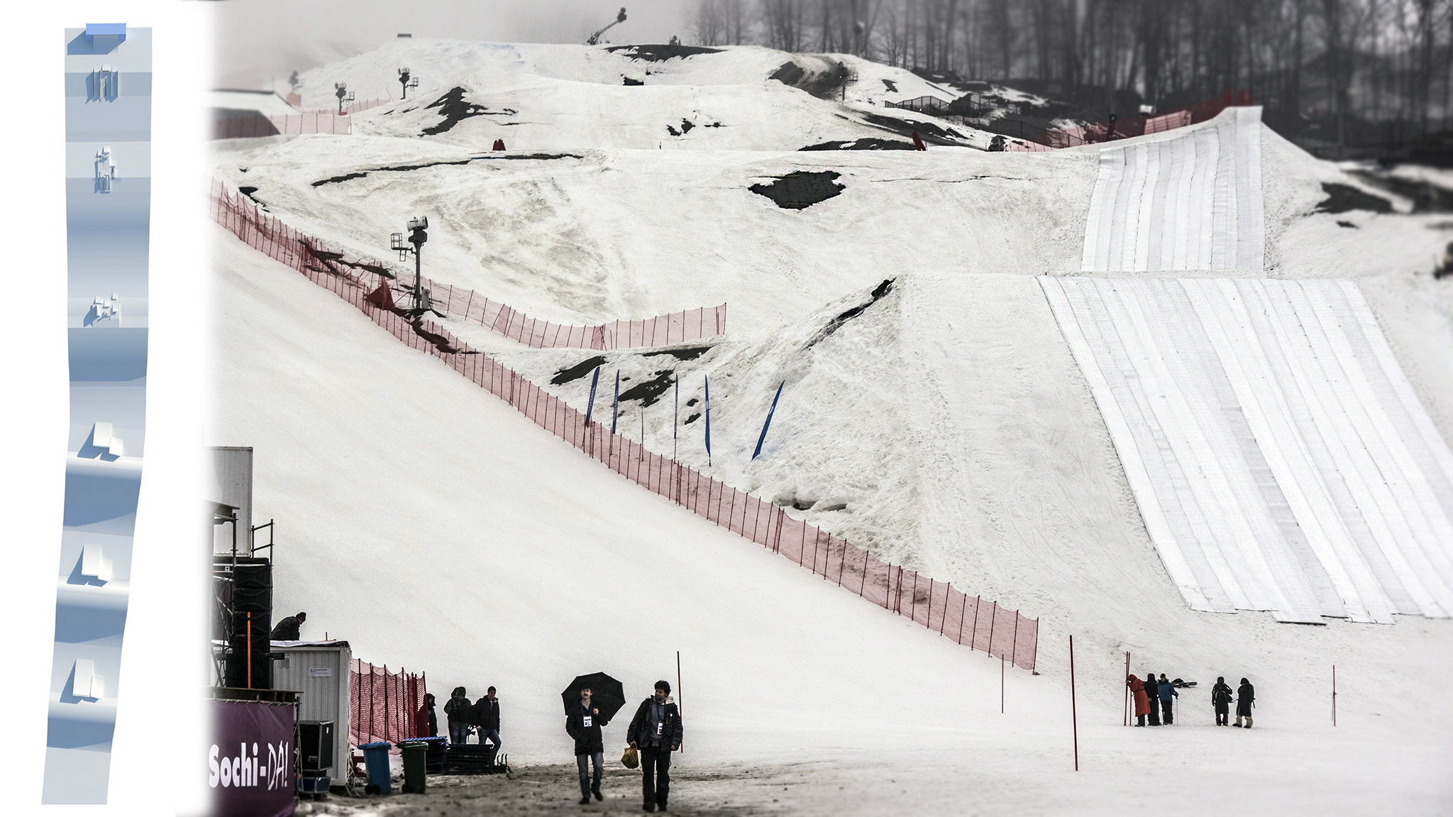 Left: Overhead design view of the future Olympic slopestyle course in Sochi. Right: Portrait of the actual course, circa February 2013.
