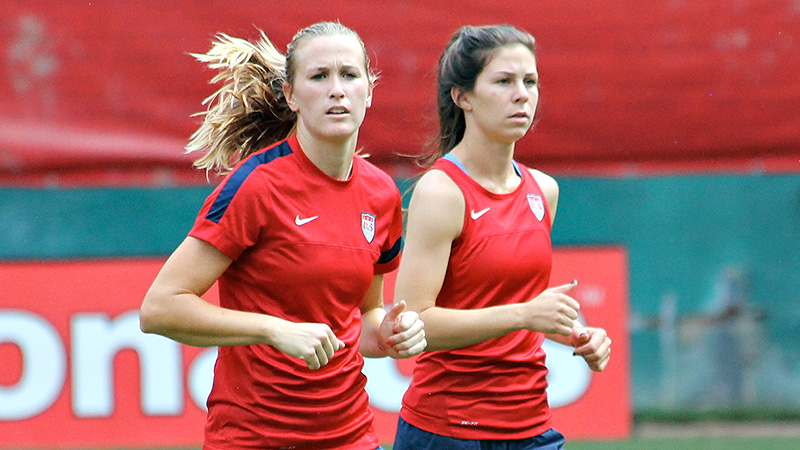 Leigh Ann Robinson, left, and Erika Tymrak are two of three players who are preparing for a first appearance with the women's national soccer team in Tuesday's friendly against Mexico.