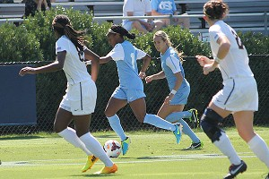 Crystal Dunn scored a goal as UNC handed West Virginia its first loss of the season on Sunday, 4-2.