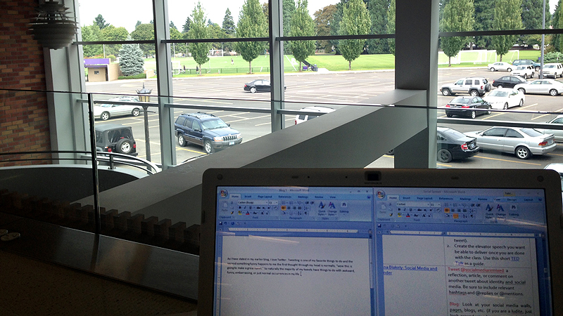 This perch in the library is a good spot to study -- and to gaze out on the soccer fields and dream about big victories.