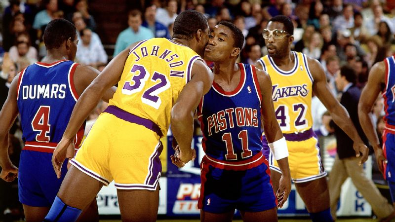 Basketball legends Magic Johnson and Isiah Thomas famously kissed each others cheeks before tipoff of Game 1 of the 1988 NBA Finals. It was classy and dignified, words that could not be used to describe the later years of their tumultuous relationship.