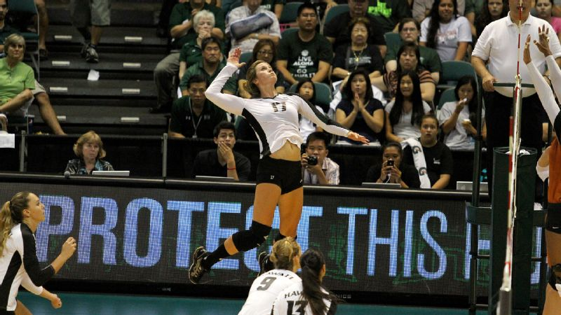 Senior outside hitter Emily Hartong leads No. 6 Hawaii in kills (220) and aces (19) this season.