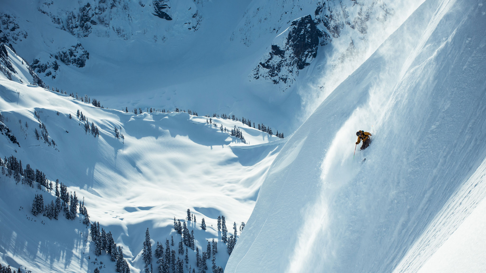 Freeskier and engineer Jeff Campbell does some field research.