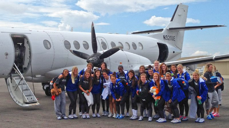 The UK womens soccer team gets ready for a long weekend, boarding this charter flight to Mississippi and later taking a bus to Tennessee.