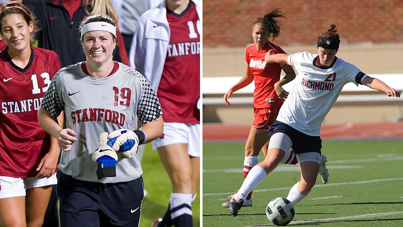 Two of college soccer's best players, Emily Oliver of Stanford, left, and Becca Wann of Richmond retired within weeks of each other, the result of multiple concussions over a series of years.