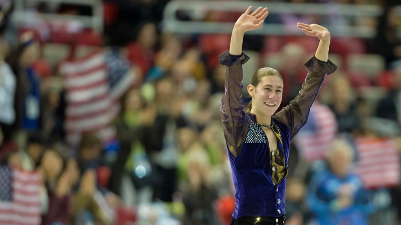 Young Jason Brown, channeling his inner Prince, finished second in the Skate America men's short program.