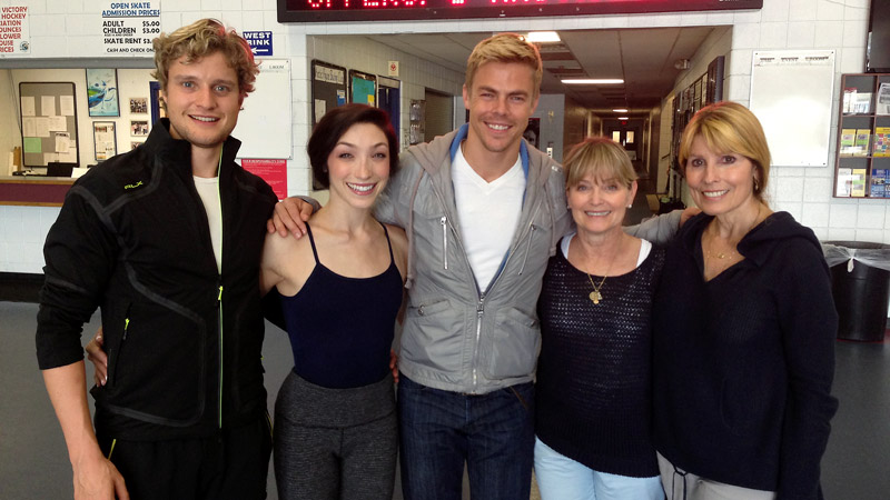 Skaters Charlie White, far left, and Meryl Davis joined their mothers, Jacqui White, far right, and Cheryl Davis, to greet Derek Hough of Dancing with the Stars.