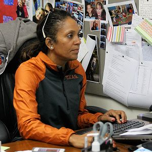 Salima Rockwell watches video of future opponents and potential recruits -- when she can find the time.
