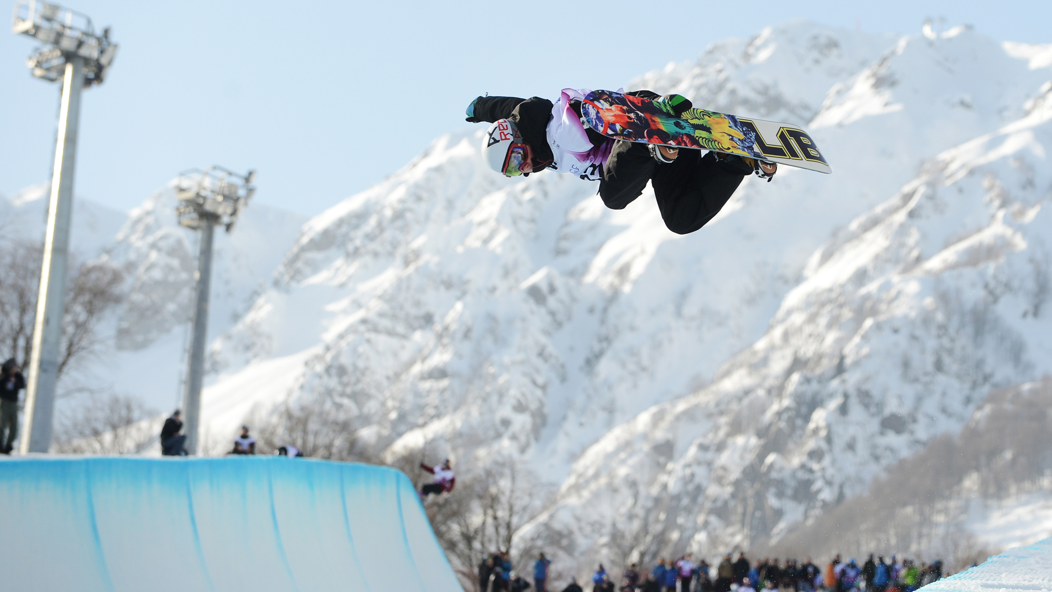 When it's not raining, the mountain view from the Sochi halfpipe is pretty impressive.