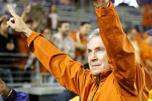 Mack Brown has a 158-47 record in 16 seasons as coach at Texas and is nine wins short of tying Darrell Royal for the most victories in school history.