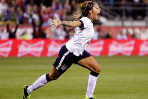 American forward Sydney Leroux celebrates after nailing a goal before halftime against New Zealand.