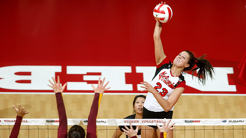 After the Nebraska football team beat Northwestern on the final play Saturday, Kelsey Robinson (21 kills and 16 digs) helped the Cornhuskers volleyball team win its own thriller against the Wildcats, 15-13 in the fifth set.