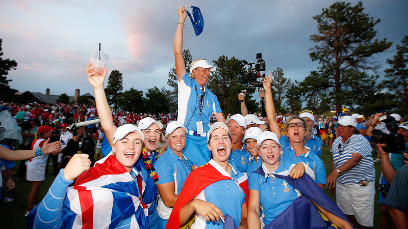 Europe not only got its first Solheim Cup victory on U.S. soil, it did so in a rout. The Euros 18-10 thrashing of the U.S. in August at Colorado Golf Club was the largest margin in Solheim history.