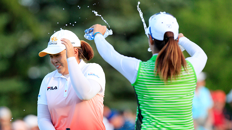 Inbee Park clinched back-to-back majors, but it wasnt easy. Already forced to play 36 holes on Sunday because of rain delays, Park went three more before winning the LPGA Championship in June in a sudden-death playoff with Catriona Matthew.