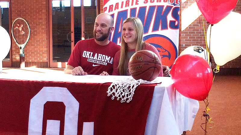 Gabbi Ortiz signed her national letter of intent to Oklahoma alongside her dad, Shawn. I fell in love with Gabbi Ortiz's game the very first time I watched her play, coach Sherri Coale said of the No. 14 prospect in the espnW HoopGurlz Top 100. She's just a magician with the ball in her hand. She can create her own shot and she can create shots for her teammates. She's crafty and her basketball IQ is so high, but her gift is her competitive heart. She just has an edge about her that is extraordinary. I(Photo Courtesy Gabbi Ortiz)/i