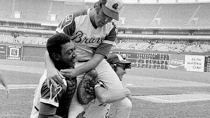 Goggin, right, played a key role in Phil Niekro's no-hitter on Aug. 5, 1973.