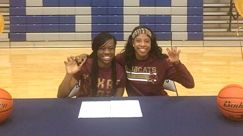 Whitney Apari of LoneStar  (Frisco, Texas) and Ericka May of Allen (Texas) signed national letters of intent to play at Texas State. Whitney's athletic abilities are off the charts, Texas State coach Zenarae Antoine said. As for May? She is a hard-working player that elevates everyone's play around her, Antoine said. i(Photo courtesy Texas State athletics)/i