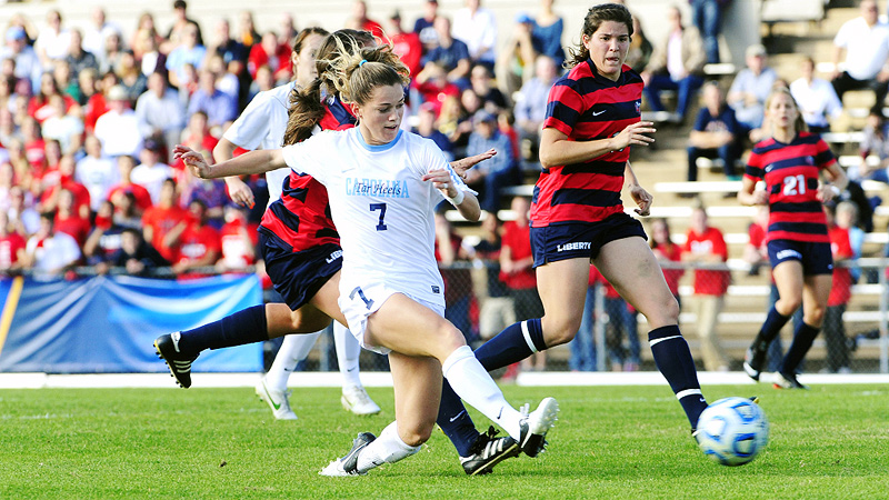 Senior Kealia Ohai got UNC off to a great start, scoring the first two goals in its first-round win over Liberty.