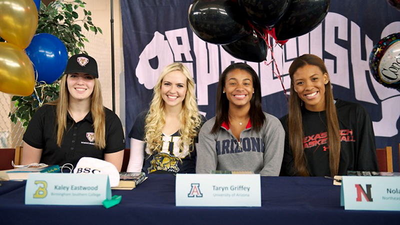 Dr. Phillips (Orlando, Fla.) teammates signed off to go their separate ways during the NCAAs early signing period. Matea Britvar, left, a 6-foot forward, is headed to St. Bonaventure; Jade Cheek, a 5-9 guard, will be staying in-state at Florida International; Taryn Griffey, a 5-7 point guard and the No. 88 prospect in the espnW HoopGurlz Top 100, will be joining her older brother at Arizona; and Ionna McKenzie, a 6-2 center, signed with Texas Tech. I(Photo Courtesy Al Honor)/I