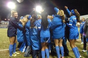 UCLA celebrates after advancing to the College Cup for the ninth time in program history.