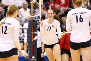No. 2 Penn State and Megan Courtney (17) have swept both of their NCAA tournament matches.