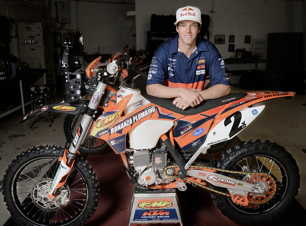 Caselli, posing here at the KTM shop in Baja on Nov. 14, dreamed of winning the Baja 1000 for his dad, who died of liver cancer in 2008.