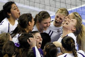 The Huskies staved off two match points to rally back in five sets to beat USC.
