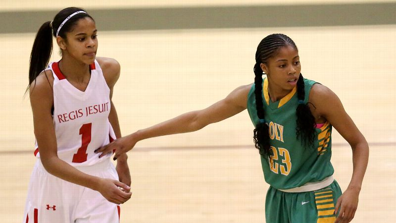 Louisville-bound Arica Carter and Long Beach Poly (Calif.) held off Purdue-bound Justine Hall and Regis Jesuit (Colo.) in the first round of action on Thursday. (Photo: Chris Coduto/Icon SMI)