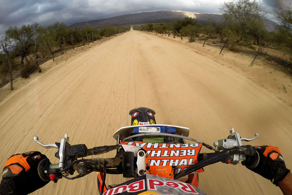 Ivan Ramirez's helmet-cam view, shortly before making the final relay exchange of the race with KTM teammate Kurt Caselli at the 2013 Baja 1000.