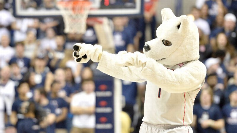 Jonathan the Husky looks pretty excited about the upcoming women's basketball schedule.