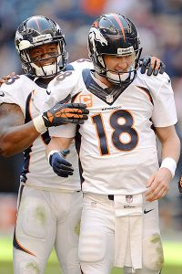 Manning celebrated an NFL record for touchdown passes this season.