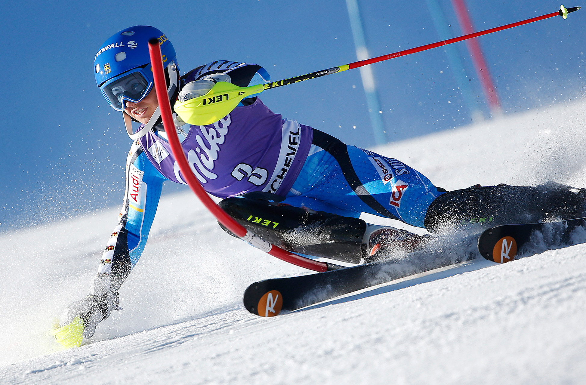 Sweden's Frida Hansdotter skis during the first run of the Women's World Cup Slalom skiing race in Courchevel, French Alps, December 17, 2013.