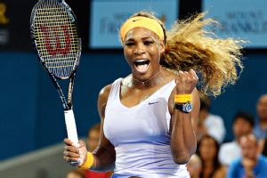 Serena Williams celebrates after defeating Victoria Azarenka.