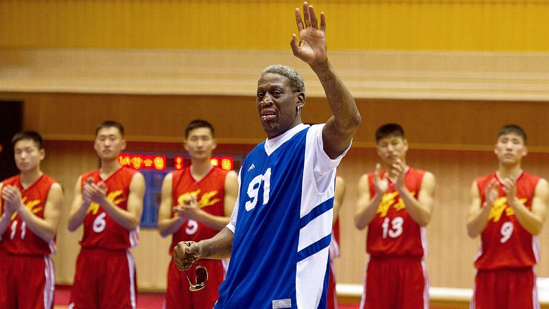 Rodman made his first visit to North Korea in February 2013 as part of a documentary. Calling his trip a mission of hoops diplomacy, Rodman became one of the first known Americans to meet dictator Kim Jong-un. The two hit it off, and one of the most controversial friendships in recent history was born. Rodman has since made additional trips to North Korean, including one in January. Joined by fellow former NBA players for a game with the North Korean national team, Rodman awkwardly sang Happy Birthday to his dictator pal and defended their friendship in a bizarre, tearful interview on CNN. Rodman entered a rehab facility upon his return to the United States.