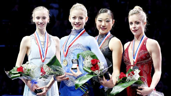 Gracie Gold, second from left, is a lock to make the Olympic team. Who out of Polina Edmunds, left, Mirai Nagasu and Ashley Wagner will join her?