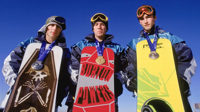 Snowboarders Danny Kass (silver), Ross Powers (gold), and Jarret Thomas (bronze) celebrate their podium sweep in 2002.