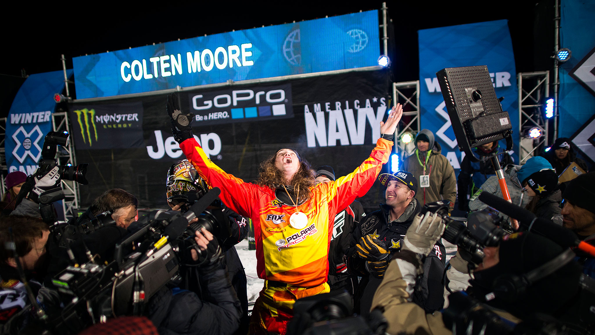 A year after the death of his brother, Caleb, who suffered injuries following a crash in Snowmobile Freestyle at X Games Aspen 2013, Colten Moore returned to X Games Aspen 2014 and said he was going to go out there and ride with Caleb. brbrHe triumphantly finished his first of two runs in first place and retained the lead throughout the remainder of the competition. I just knew that Caleb would be riding with me, said Moore.