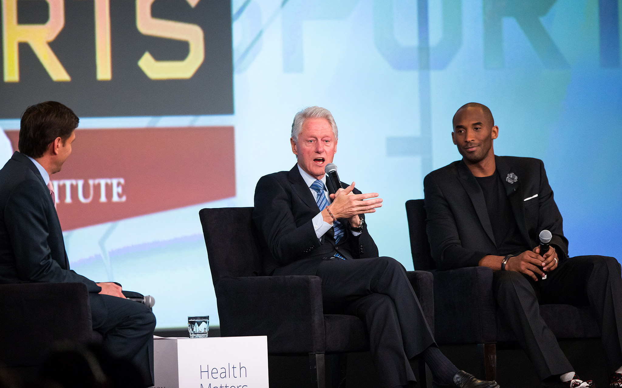 President  Bill Clinton and Kobe Bryant