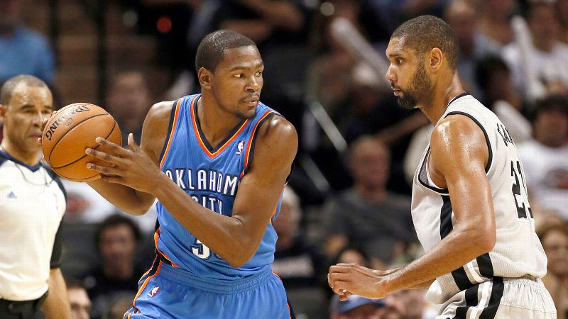 Kevin Durant and Tim Duncan
