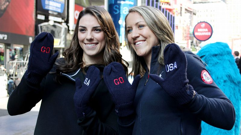Hilary Knight and Meghan Duggan show off Team USA mittens, but they'll have a lot more gear to account for when they leave for Sochi.