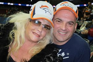 Gina DiBenedetto was joined by her husband, Anthony, at Super Bowl media day.