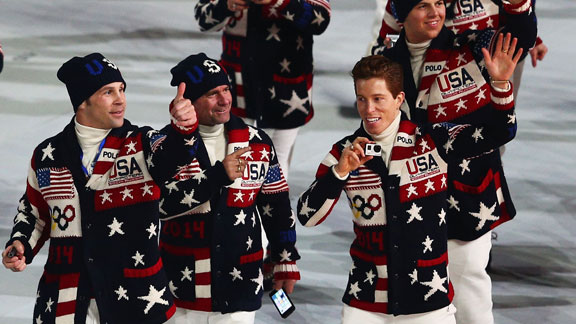 Shaun White walked into the opening ceremony in Sochi on Friday with his coach, Bud Keene.