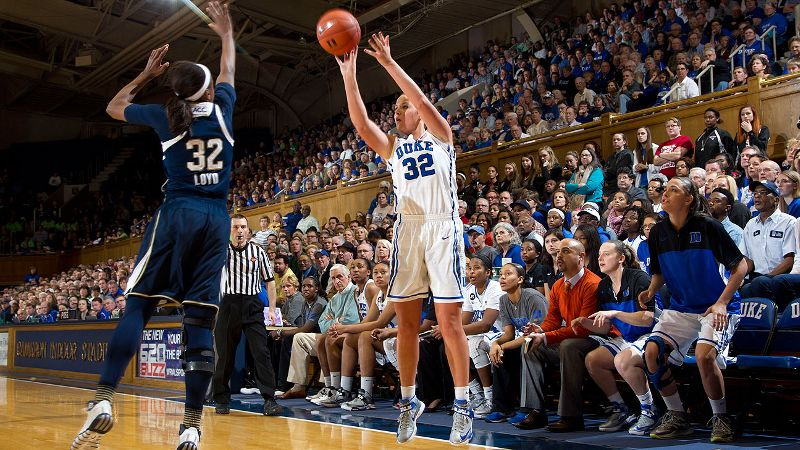 Tricia Liston, Duke's all-time leader in three-point shots made, has taken Becca Greenwell under her wing.