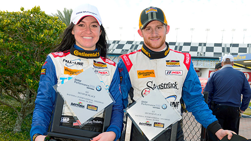 In the first race of the season, Ashley Freiberg and Shelby Blackstock won the Continental Tire SportsCar Challenge endurance race at Daytona International Speedway.
