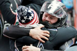 Steven Holcomb celebrates the first U.S. medal in two-man bobsled since 1952.